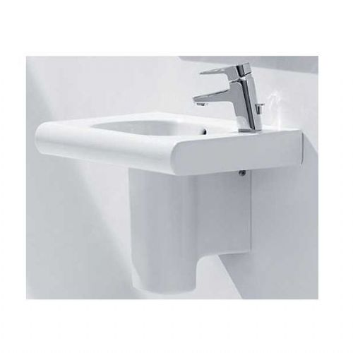 Roca Meridian-N Square Basin With Semi Pedestal - 350mm - Right Handed - 1 Tap Hole - White